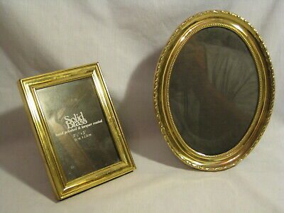 2 vintage picture frames solid brass rectangle frame & ornate oval photos stand