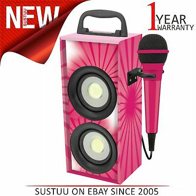 Lexibook iParty Mini Bluetooth Karaoke with Microphone│4W RMS│DEL Light│Pink│NEW