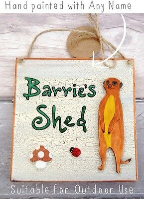 Meerkat Outdoor Garden or Shed Sign Plaque Personalised Wooden Fathers Day Gifts