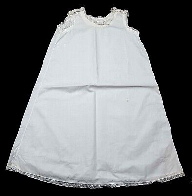 Antique Baby Doll Dress Petticoat - Full Length - White - Lace Trim - Victorian