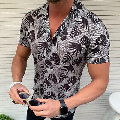 Men's Shirts Coconut Palm Tops V Neck Buttons T-Shirts Hawaii Beach Casual New