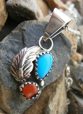 Sterling Silver 925 pendant Navajo Turquoise Red Coral Feather + Sterling chain