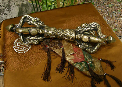 Old Huge Gorgeous Bronze Vajra/Dorje from Nepal with Dragon 11in