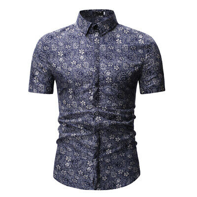 Men's Shirts Casual Tops Buttons Gray Blue Cotton Shirts Polo Neck Rose Printed