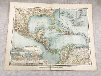 1899 Antique Map of Central America Jamaica The West Indies 19th Century GERMAN