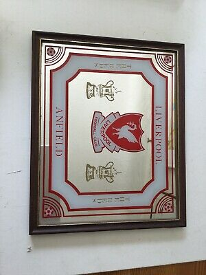 Vintage 70's 80's Liverpool FC Mirror The Reds Anfield 27x22 Cm