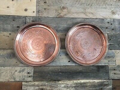 Pair Of Leaf & Berry Joseph Sankey & Sons Copper Plated Tray Plate Wall Charger