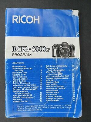 Ricoh KR-30SP Program Camera Instruction Book / Manual / User Guide