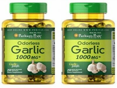 Garlic 1000 mg Odorless 2X250=500 gels Cholesterol Health Pills Antioxidant 2022
