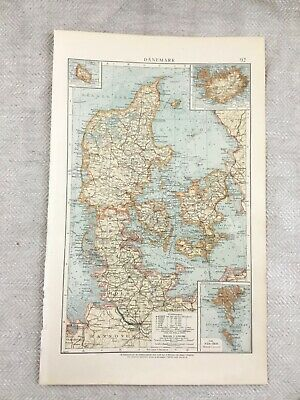 1899 Antique Map of Denmark Faeroe Islands Old Original 19th Century GERMAN