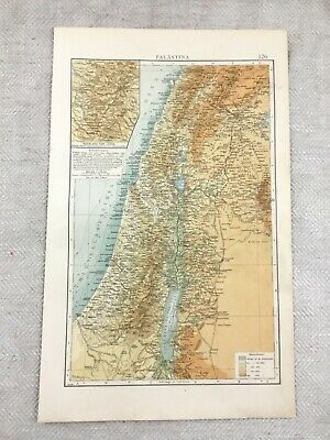 1899 Antique Map of Palestine Israel Jerusalem Old Original 19th Century GERMAN