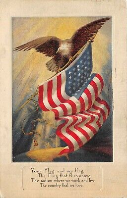 PATRIOTIC 1917 WWI Era Postcard Eagle with Flag Country We Love