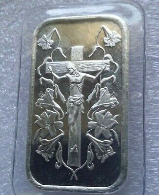 10 X 1oz JESUS ON THE CROSS .999 PURE SILVER BARS ~ NEW /& SEALED IN VINYL !