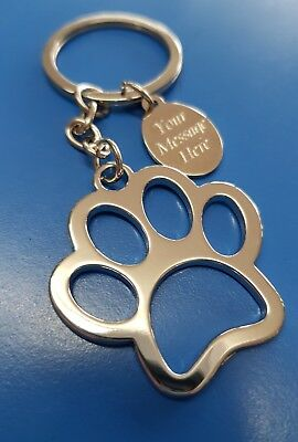Personalised Paw Shaped Keyring with Engraved Tag & Gift Bag Dog Cat Lover Gift