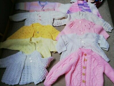 Baby Girls Hand Knitted Cardigans 10 items  Pink White Yellow 3-6 6-9 9-12