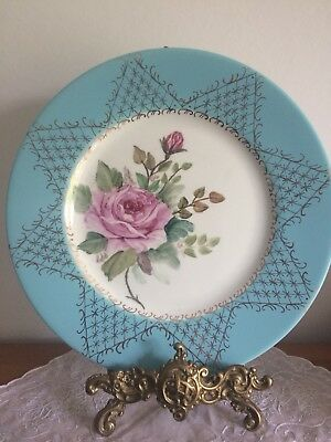 Vintage Myott's Bone China Hand Painted Duck Egg Blue Pink Rose