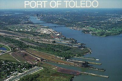 Aerial View of Port of Toledo Ohio, Great Lakes Carrier, Ships, OH --- Postcard