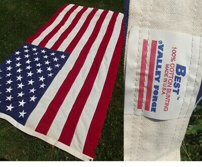"""LARGE COTTON FLAG vintage USA vet burial VALLEY FORGE American """"BEST"""" STITCHED"""