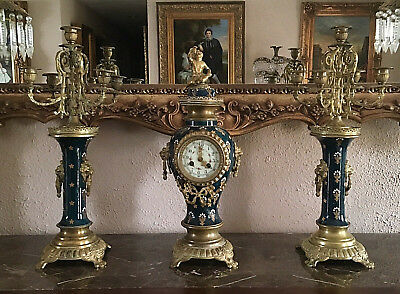 Antique French Brass & Porcelain Mantel Clock & 4 Arm Candelabras G.W. Estate