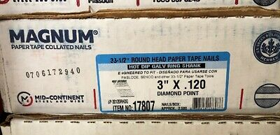 """Magnum Fasteners 17807 3"""" x .120 Round Head HDG Ring Shank Nails (2500)"""