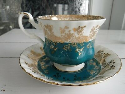 Royal Albert Teacup  & Saucer , Royal Series, Teal Green
