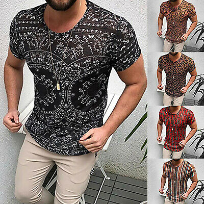 Men Muscle Slim Fit Short Sleeve T-Shirt Crew Neck Summer Casual Blouse Top Tee