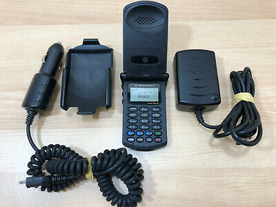 Vintage MOTOROLA StarTAC ST7868W Verizon Dual Band Flip Cell Phone & Acc Bundle