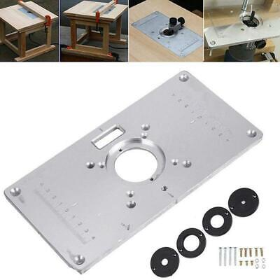 1X(Router Table Plate 700C Aluminum Router Table Insert Plate + 4 Rings Scr E5O9