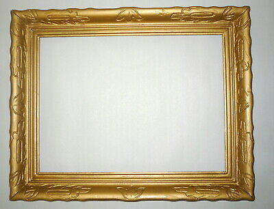 """Antique Art Deco Style Gold 16"""" x 12"""" Wood Carved Picture Frame"""