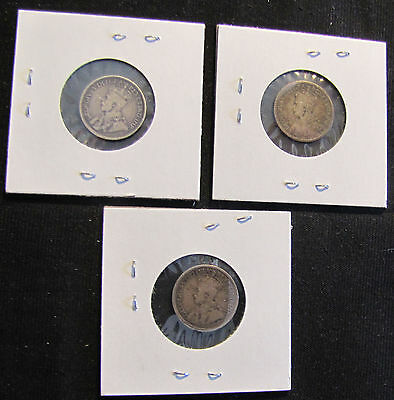Lot of 3 Canada 10 Cents Silver Coins - 1912, 1916, 1919