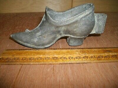 Q533 Antique Pewter Ice Cream Candy Chocolate Mold Victorian Lady's Shoe