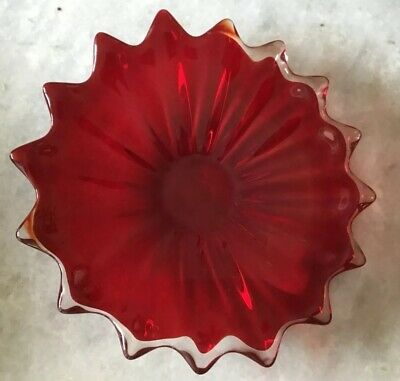Beautiful Vintage Murano Glass Red Shallow Bowl Scalloped Rim