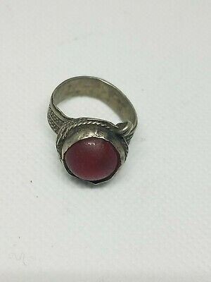 Antique Silver Yemeni Bedouin  Ring With old Agate Stone Size 8
