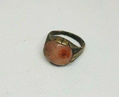 Antique copper & Silver Yemeni Bedouin  Ring With White Agate Stone Size 6.5