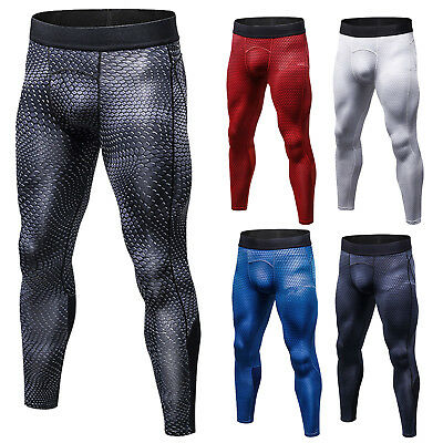 Mens Sport Gym Skin Tights Slim Trousers Compression Base Fitness Athletic Pants