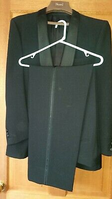 1960s Anthony Squires Velvet collar black, all new wool Tuxedo with trousers.