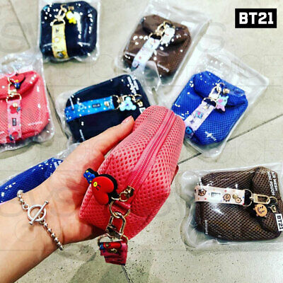 BTS BT21 Official Authentic Goods Air Mesh Mini Pouch 115 x 40 x 70mm + Tracking