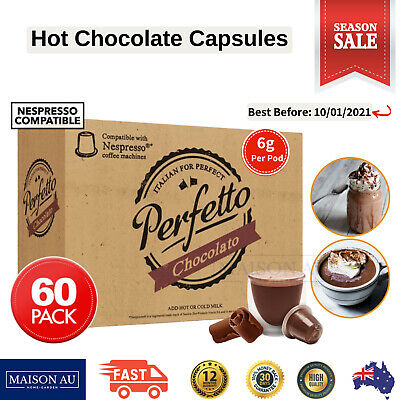 Nespresso Compatible Hot Chocolate Capsules Pods Café Froth Italian 60 Pack
