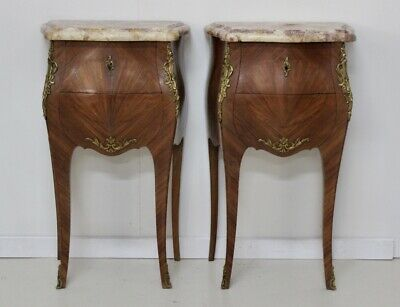 Pair of antique French Louis vintage walnut marble lamp table bedside cabinets