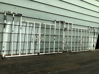Vintage Art Deco Clincker House Driveway Gates Wrought Iron 1930s 40s Antique