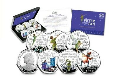 Official 2019 Peter Pan Silver Proof 50p Coloured Coin Set Royal Mint - SOLD OUT