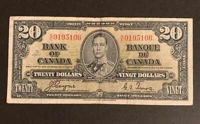 1937 - Twenty 20$ Dollar Canadian Banknote - Bank Of Canada