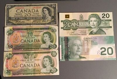 1954, 1969, 1979, 1991, 2004 - Canadian Twenty 20$ Dollar Banknote Canada Lot