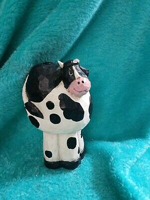 Carved Silly Cow Wooden 5 In