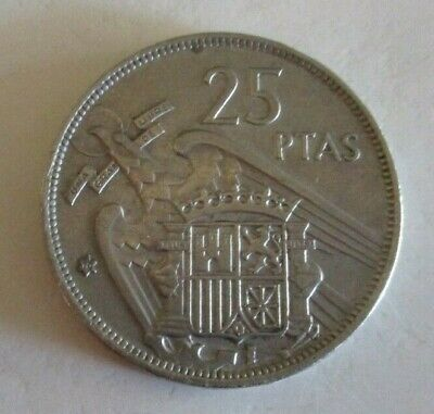 1957 - Spanish 25 PTAS Coin - Coat of Arms & Francisco Franco Caudillo - Circul.