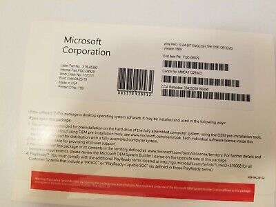 Microsoft Windows 10 Professional 64 Bit Pro Coa Key with CD and recovery USB