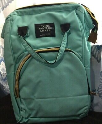 Living Traveling Share Tote/Backpack/Diaper bag Teal Canvas