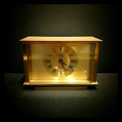 Vintage Mid Century Solid Brass Quartz Metamec Mantel Table Carriage Clock