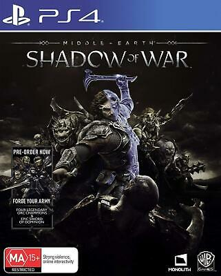Middle Earth Shadow of War PS4 Playstation 4 Brand New Sealed AU Stock Free Post