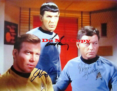 William-Shatner-Leonard-Nimoy-Deforest-Kelley Autographed 8 X 10 Photo RP